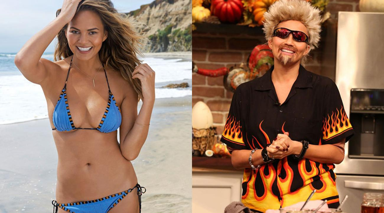 Chrissy Teigen for SI Swimsuit 2015 and in costume on The FABLife