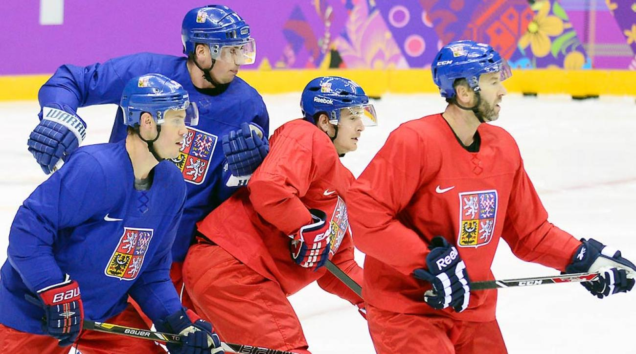 Petr Nedved (far right) and the Czech Republic will get the men's hockey tournament underway Wednesday against Sweden.