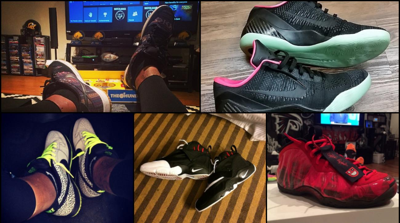 Carolina Panthers safety Thomas DeCoud's extensive shoe collection.