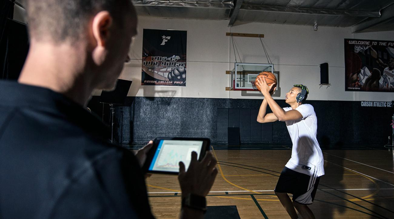 Dante Exum has his brain activity analyzed during a performance test by Red Bull, a company known for testing the limits of its athletes with the latest technology.