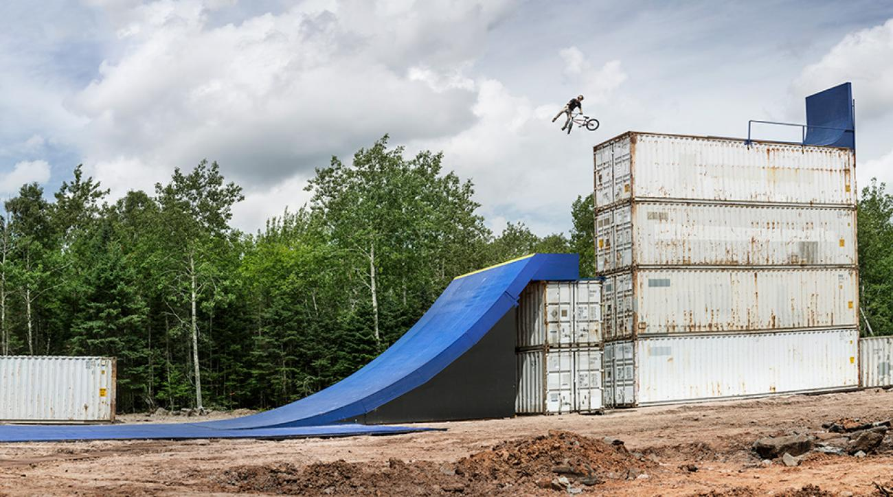 Drew Bezanson performs a huge 360 tail whip during Red Bull Uncontainable in Truro, Canada.