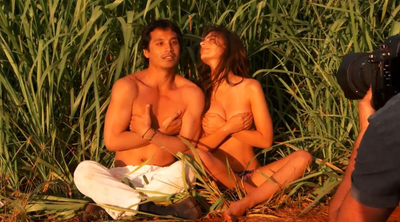 Emily Ratajkowski and photographer Yu Tsai in Kauai, SI Swimsuit 2015