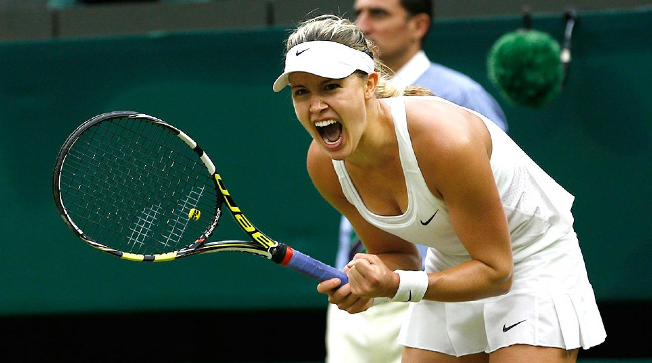 Eugenie Bouchard defeated Alize Cornet, who ousted Serena Williams on Saturday, in straight sets.