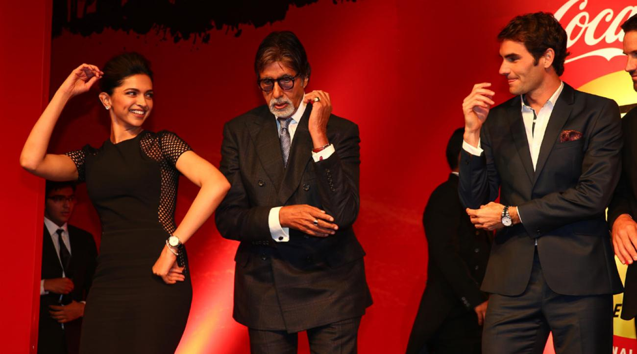 Deepika Padukone, Amitabh Bachchan and Federer dance at the Coca-Cola gala dinner during the third leg of the IPTL.