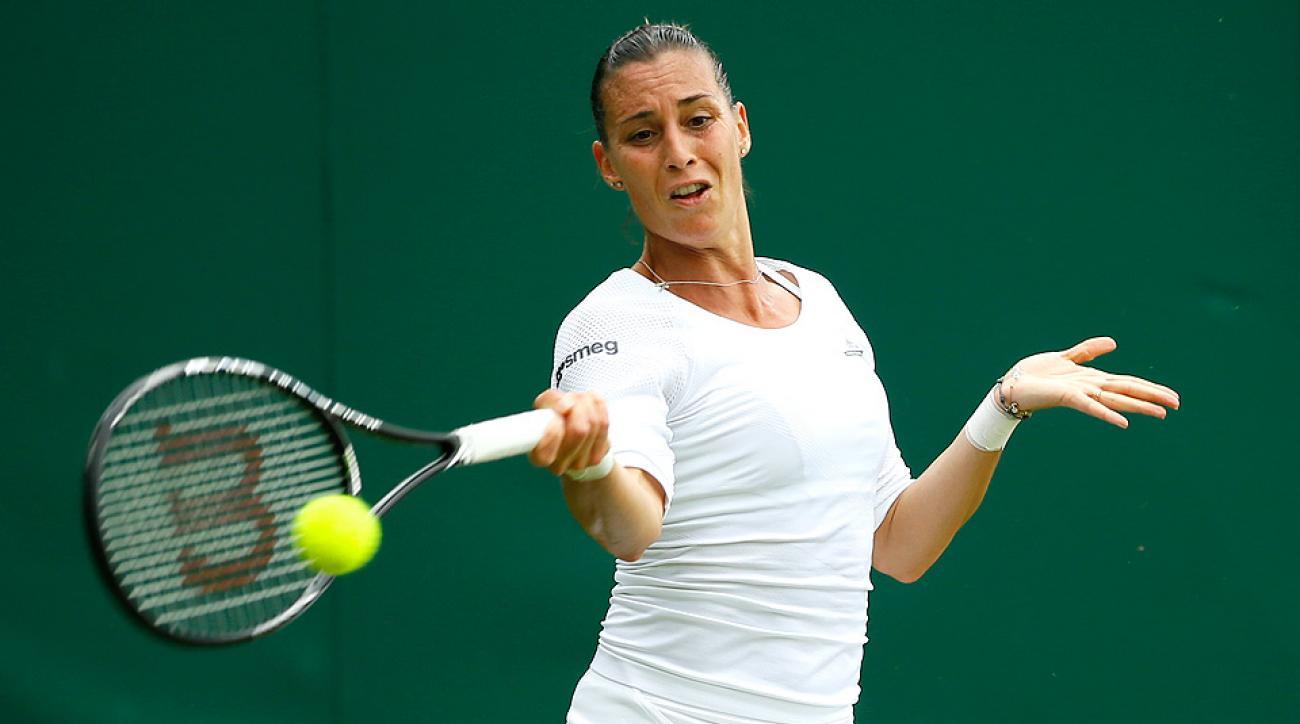 Flavia Pennetta was upset by Lauren Davis in the second round at Wimbledon.