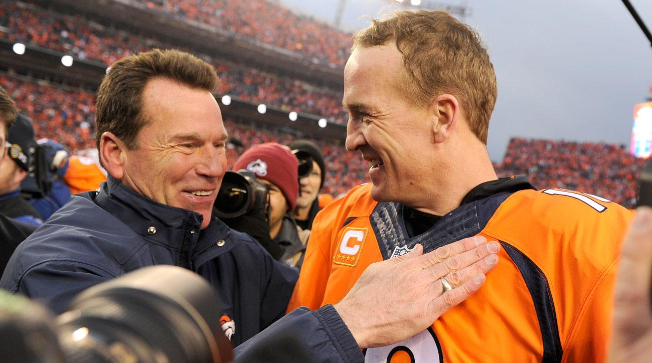 Kubiak and Manning celebrate their AFC championship.