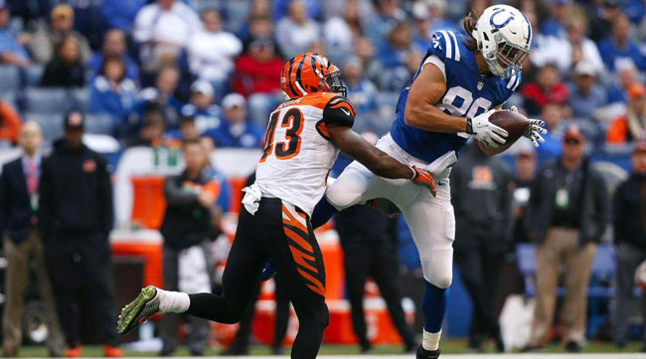 George Iloka of the Bengals covering the Colts' Coby Fleener.