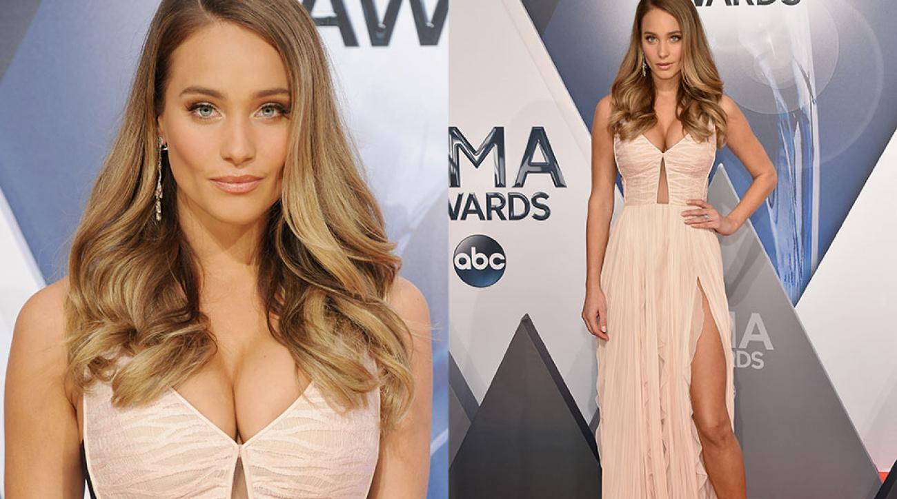 Hannah Davis attends the 49th annual CMA Awards at the Bridgestone Arena