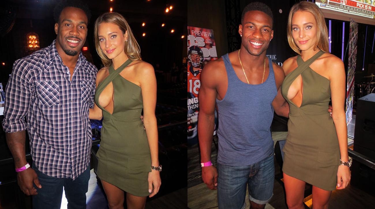 Hannah Davis poses with NFL players Steven Jackson and Emmanuel Sanders