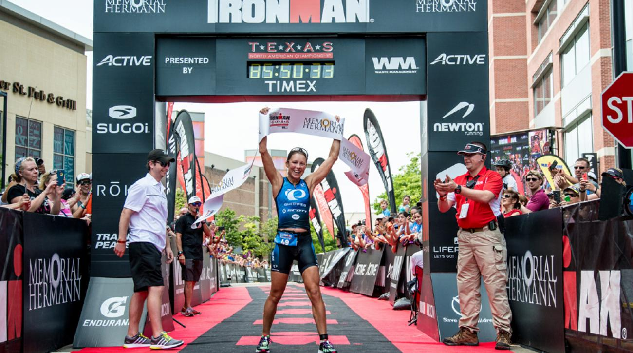Angela Naeth celebrates her win at the IRONMAN North American Championship in May 2015.