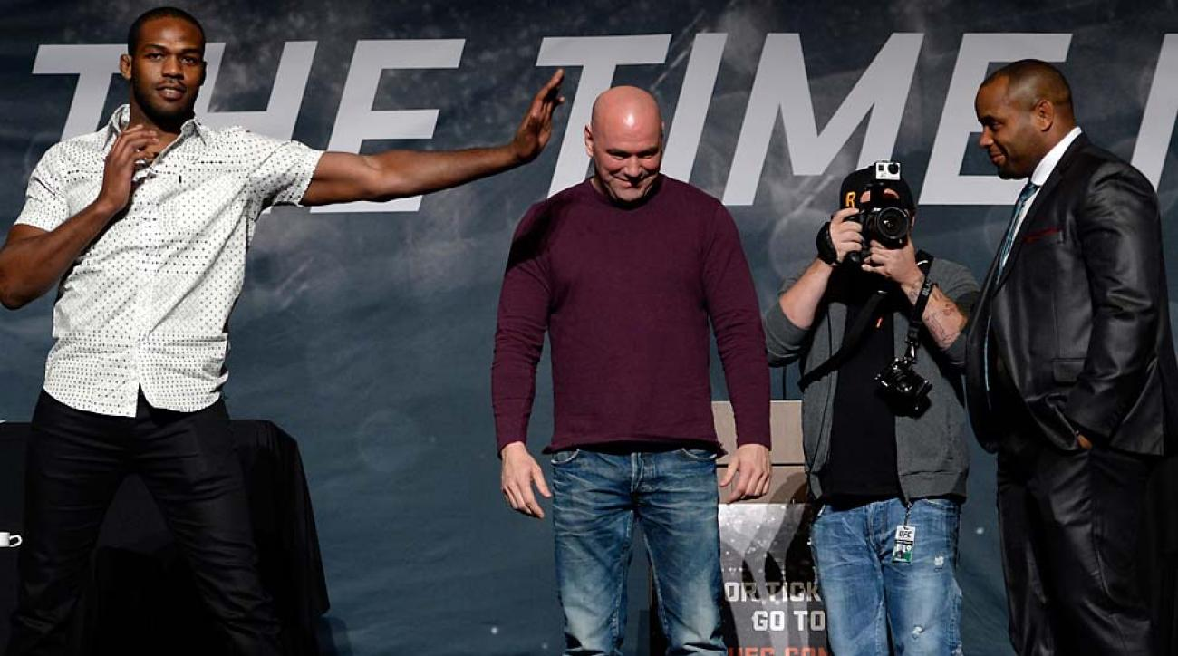 UFC light heavyweight champion Jon Jones (left) and challenger Daniel Cormier during the UFC Time Is Now press conference in Las Vegas.