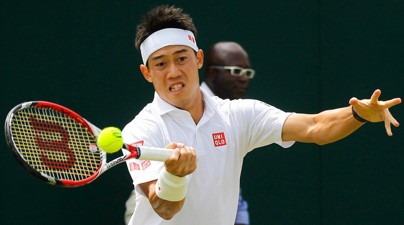 Kei Nishikori defeated American Denis Kudla in straight sets to reach the third round of Wimbledon.