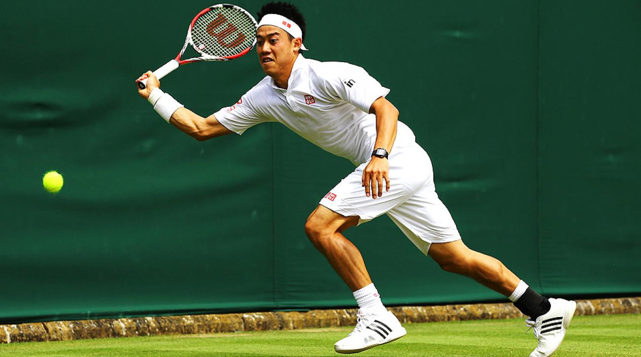 Kei Nishikori breezed past American qualifier Denis Kudla 6-3, 6-2, 6-1 to reach the third round at Wimbledon.
