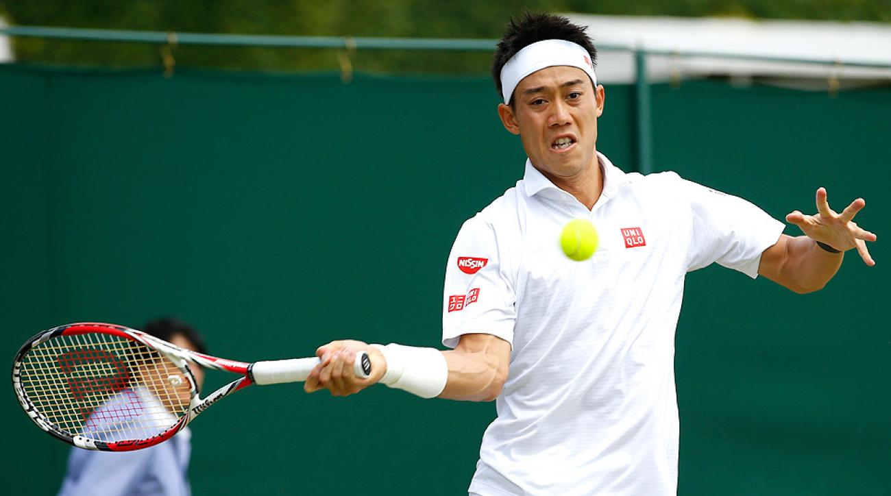 Kei Nishikori defeated Simone Bolelli to reach the fourth round at Wimbledon for the first time.