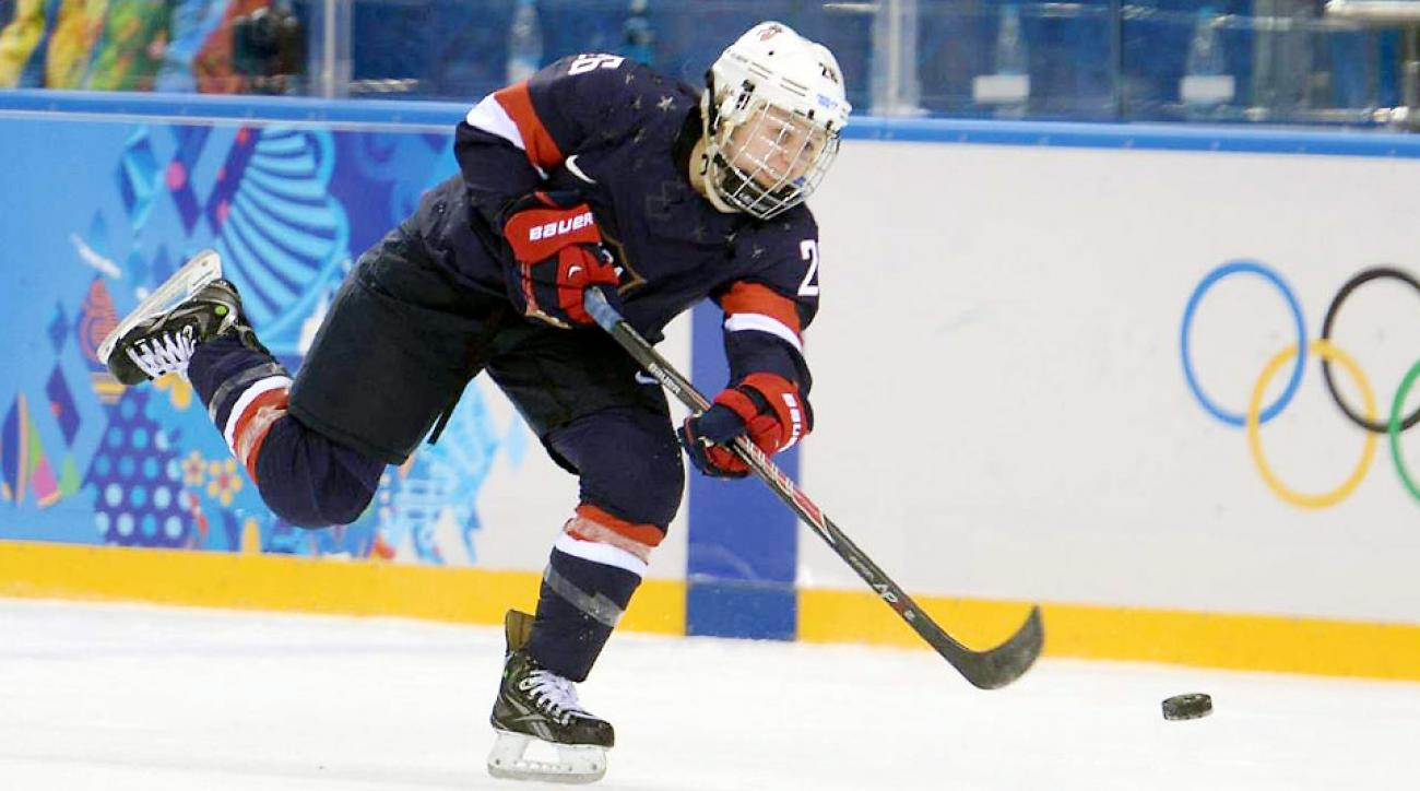 Forward Kendall Coyne had five shots on goal in the U.S.'s 3-1 victory over Finland in its opening game at the Sochi Olympics.