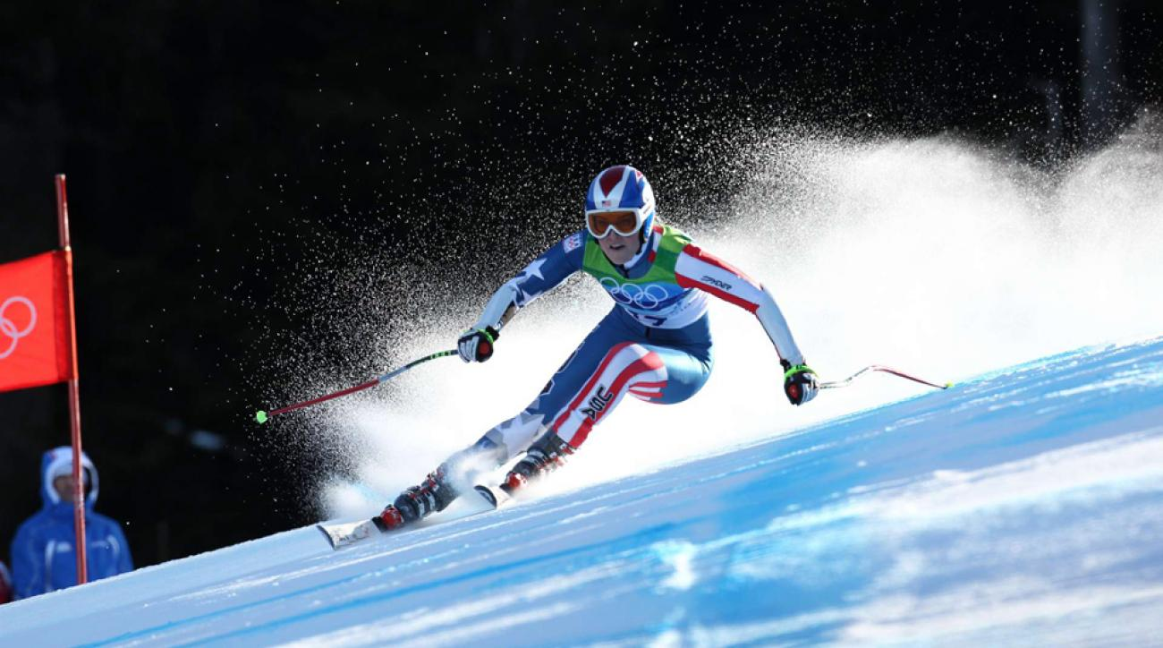Lindsey Vonn competing in the Women's Super-G at the 2010 Winter Olympic Games.