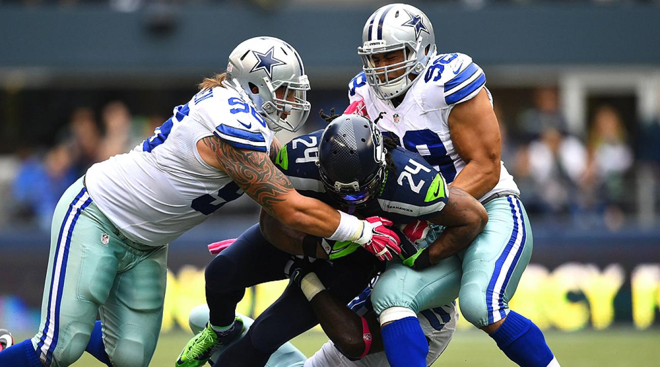 Seattle Seahawks' Marshawn Lynch was limited to only 10 carries for 61 yards against the Dallas Cowboys in Week 6.