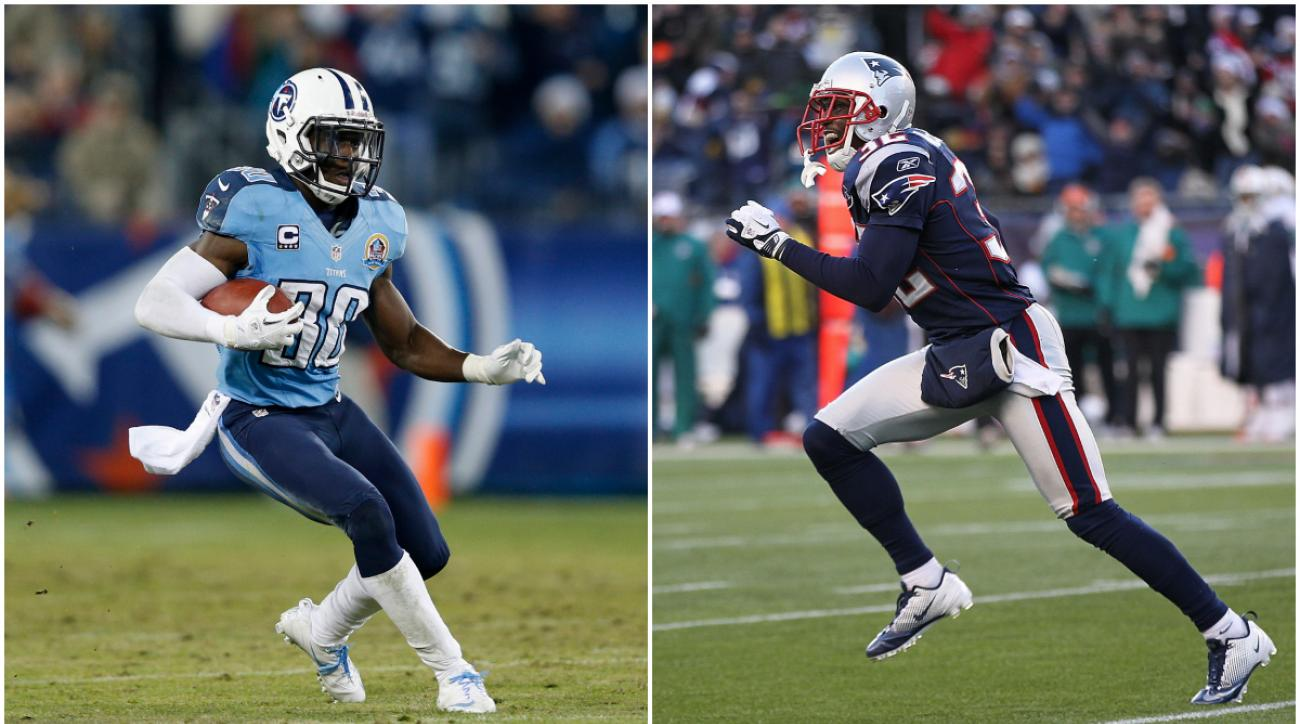 Jason McCourty (left) is a cornerback for the Tennessee Titans and his twin brother, Devin McCourty (right), is a defensive back for the New England Patriots.