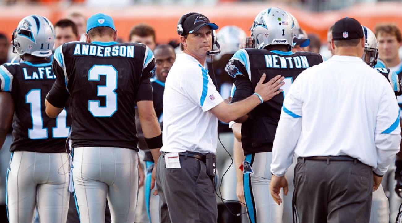 Carolina Panthers offensive coordinator Mike Shula.
