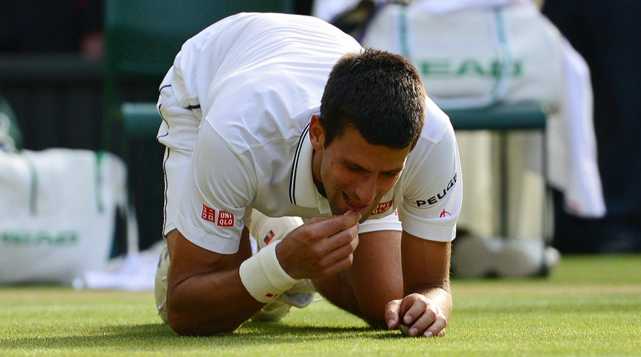 Novak Djokovic actually ate grass from the court after defeating Roger Federer and winning his second Wimbledon title.