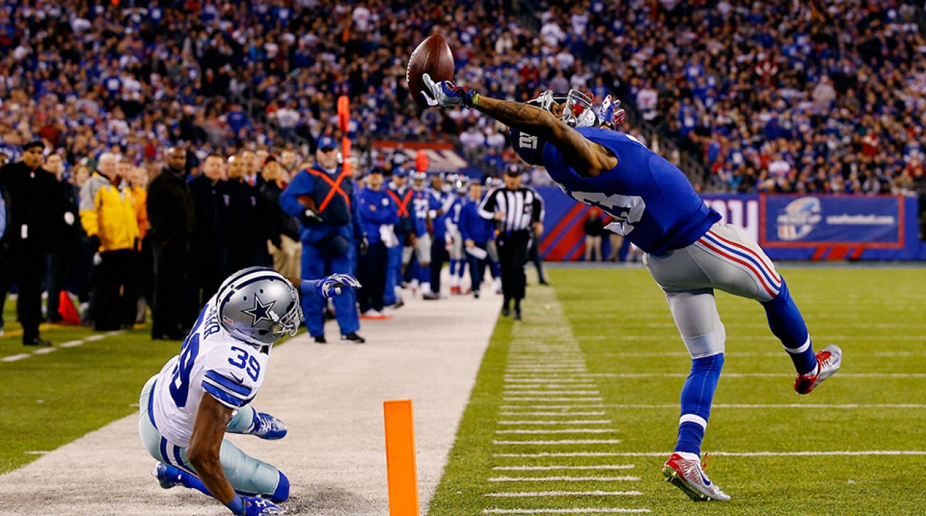 Odell Beckham Jr. makes a spectacular catch against the Dallas Cowboys.