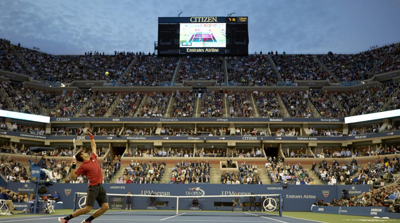 Novak Djokovic serving to Rafael Nadal during the men's Final of the 2013 U.S. Open.
