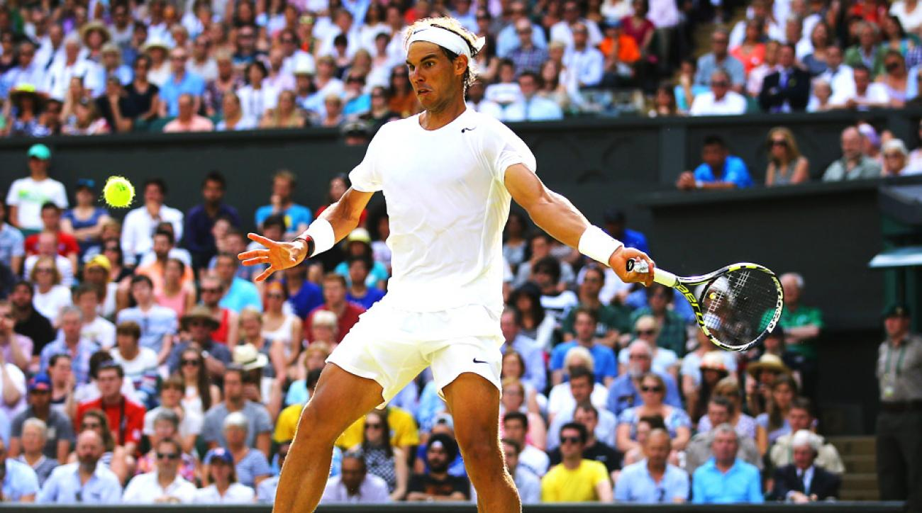 Two-time Wimbledon champion Rafael Nadal had to work hard for his first-round victory at Wimbledon, beating Martin Klizan 4-6, 6-3, 6-3, 6-3.