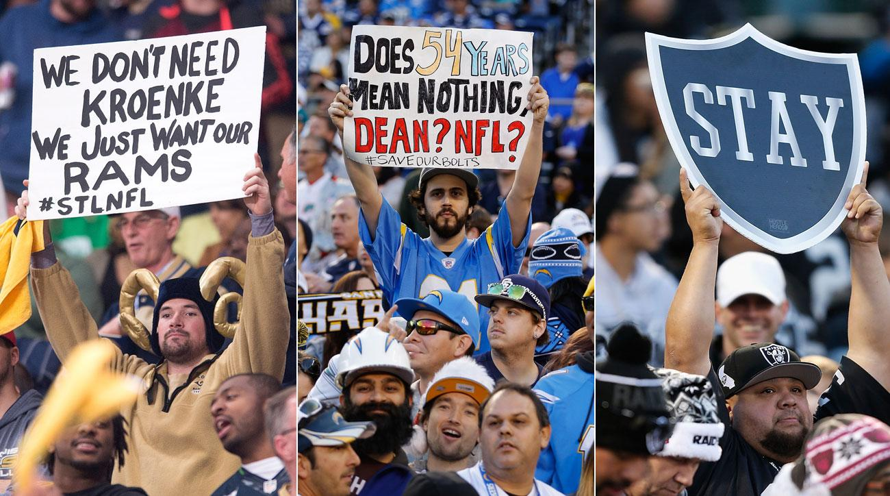 Supporters of the Rams, Chargers and Raiders express themselves in the stands.