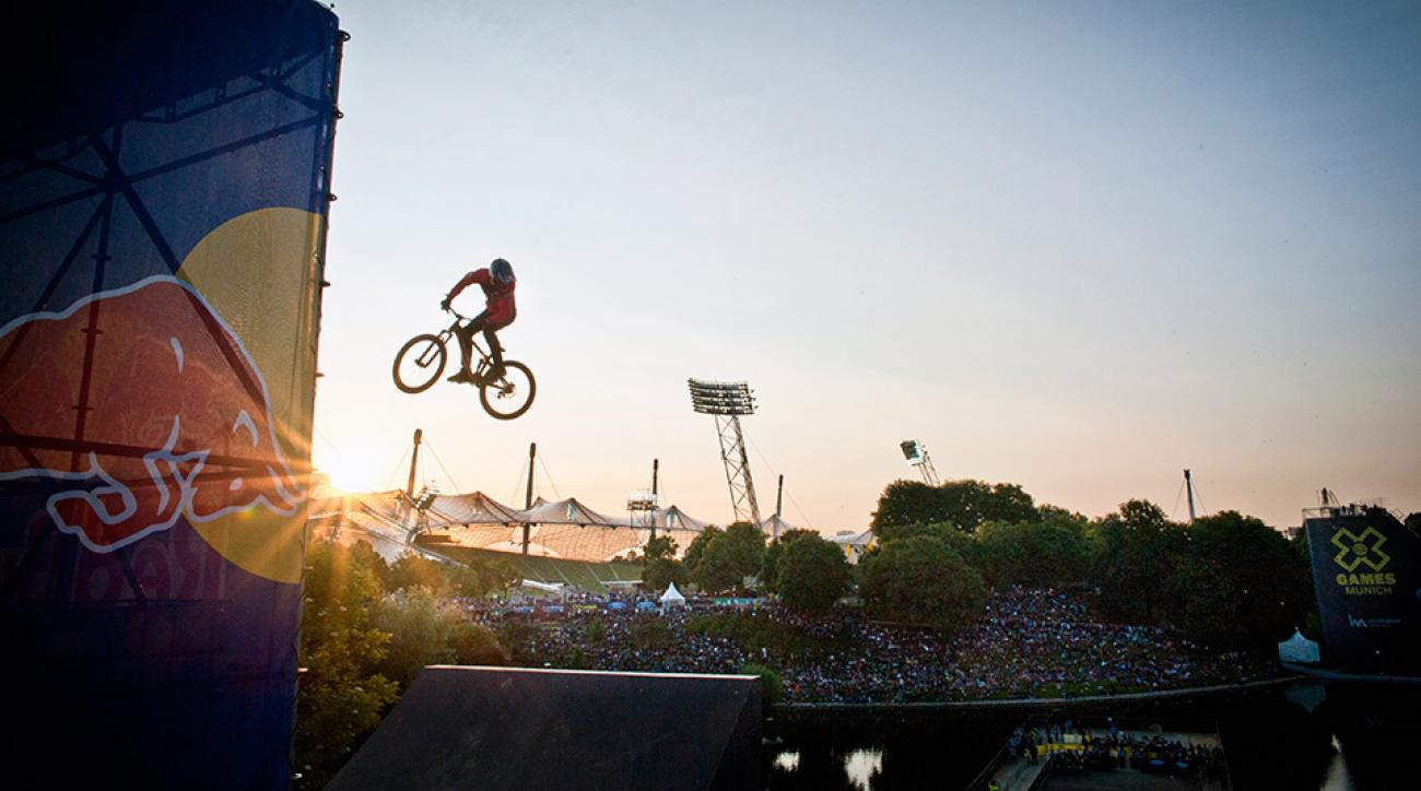 Brandon Semenuk performing the Mountainbike Slopestyle Finals at the X Games in 2013