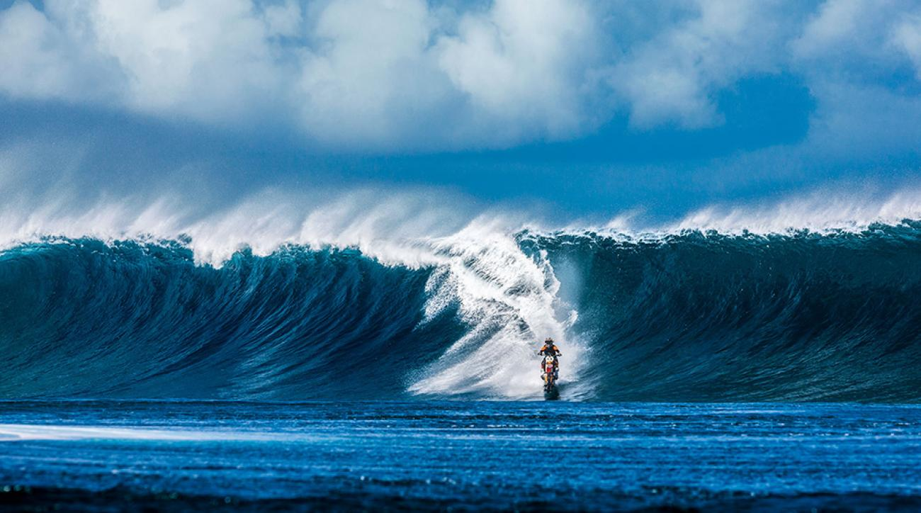 Robbie Maddison does some big wave surfing on his motorcycle in Pipe Dream.