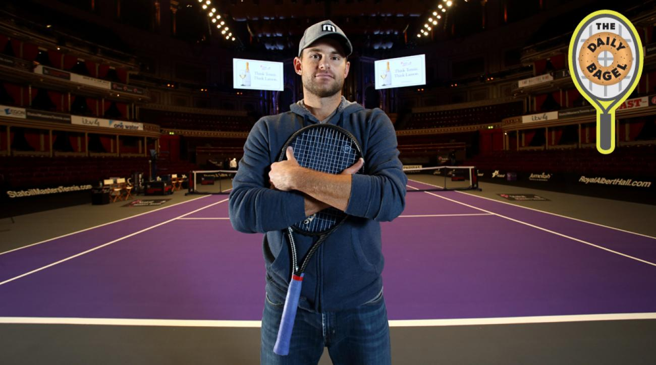 Roddick poses for a photo ahead of day one of the Statoil Masters Tennis at the Royal Albert Hall.