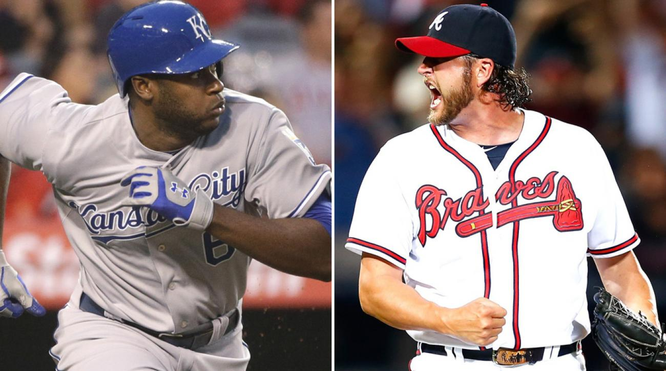 L: Lorenzo Cain of the Royals. R: Jason Grilli of the Braves.
