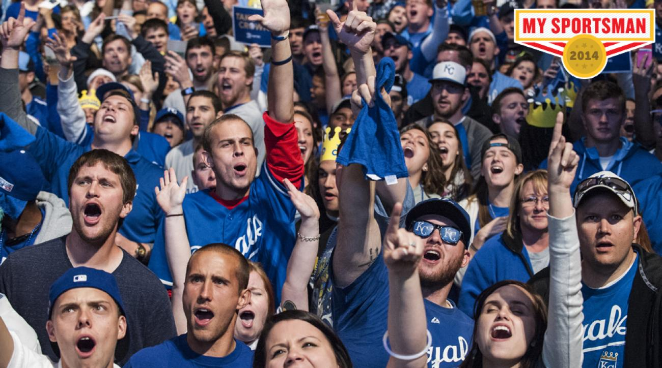 Kansas City Royals fans cheer in the Power and Light District during game seven of the World Series.