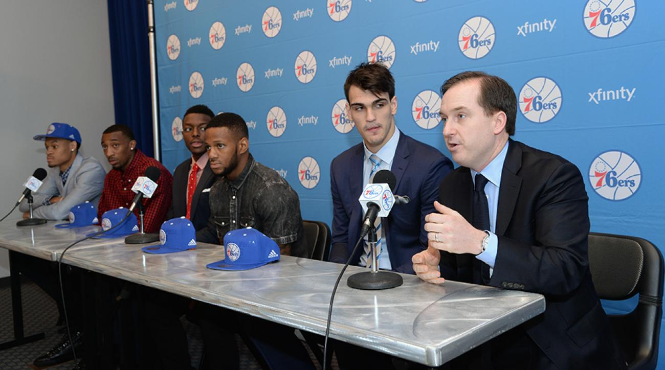 Philadelphia 76ers GM Sam Hinkie (far right) introduces K.J. McDaniels, Jordan McRae, Jerami Grant, Pierre Jackson and Dario Saric following the 2014 NBA draft.