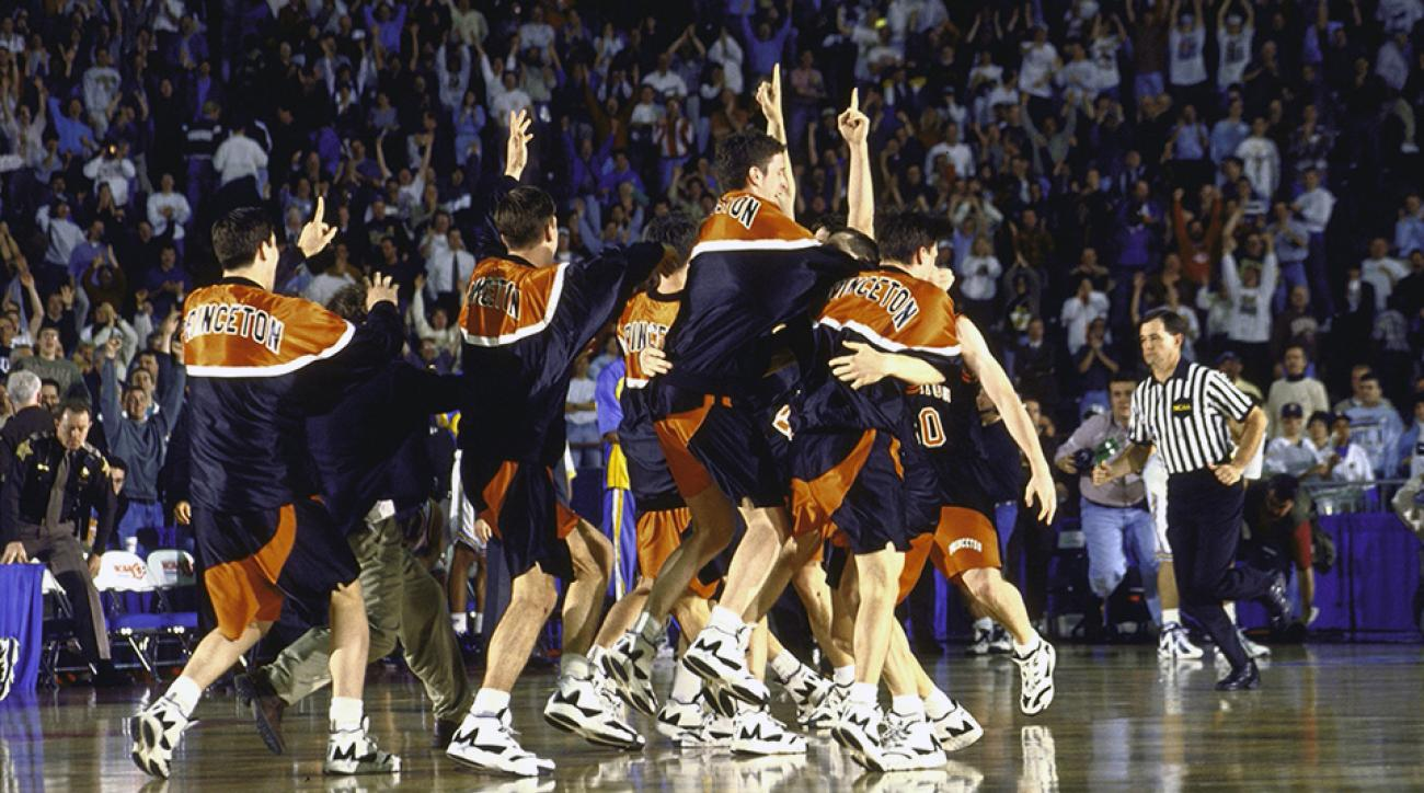 Princeton players run on the court after upsetting UCLA in March 1996.