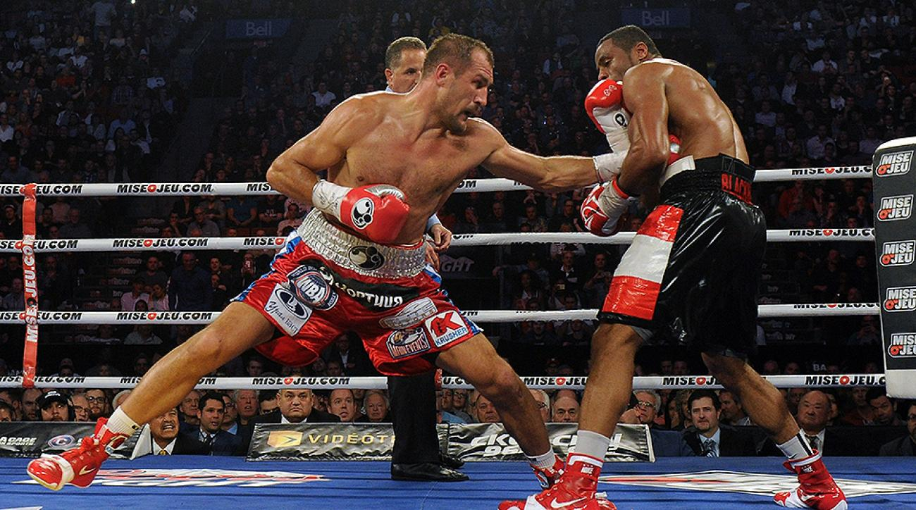Sergey Kovalev throws a left hand to Jean Pascal's body in their first bout on March 14, 2015.