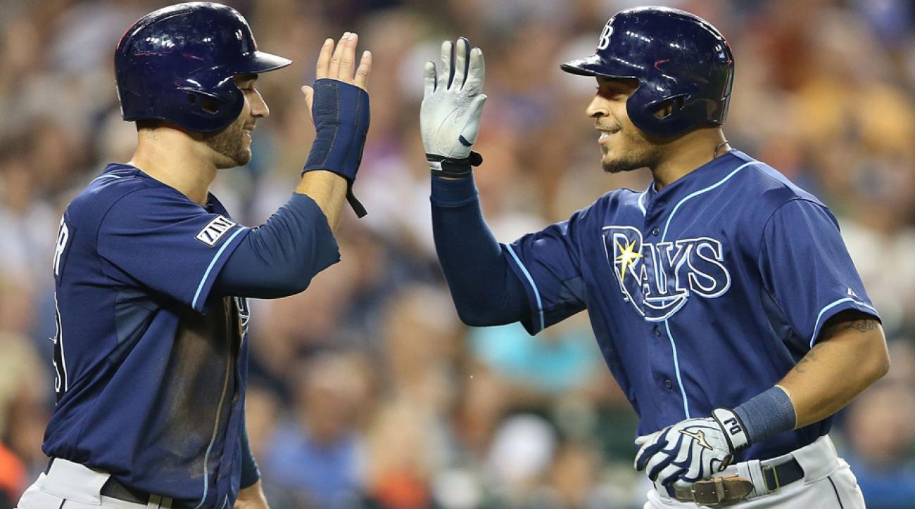 Kevin Kiermaier (left) and Desmond Jennings (right) have both heated up in the last month to help Tampa Bay in its climb back toward first place in the American League East.