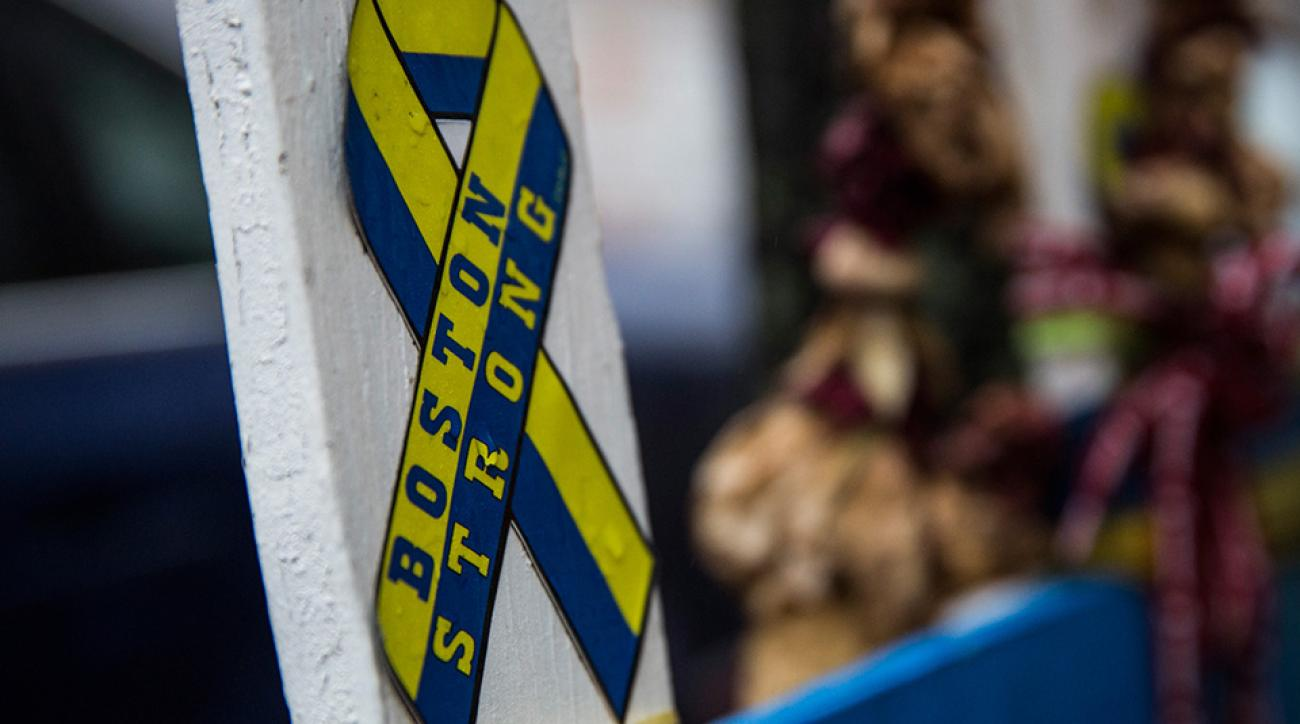 A memorial stands at the site of the first bomb that went off in the Boston Marathon bombing.