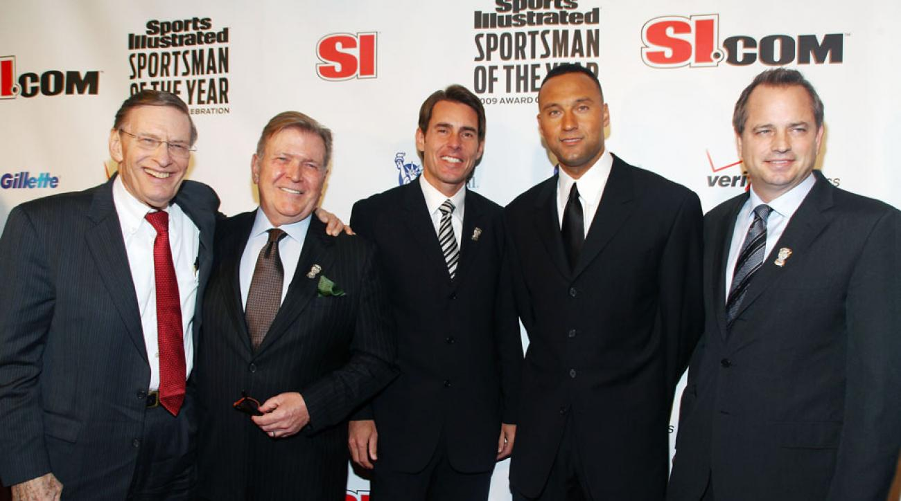 Tom Verducci (center) at the 2009 Sportsman of the Year celebration honoring Derek Jeter.