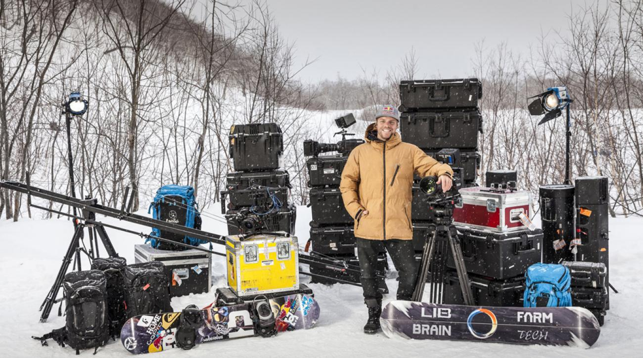 Professional snowboarder Travis Rice on-site at the production of his upcoming film. Details about the film, including the title and the release date, will be released later this fall.