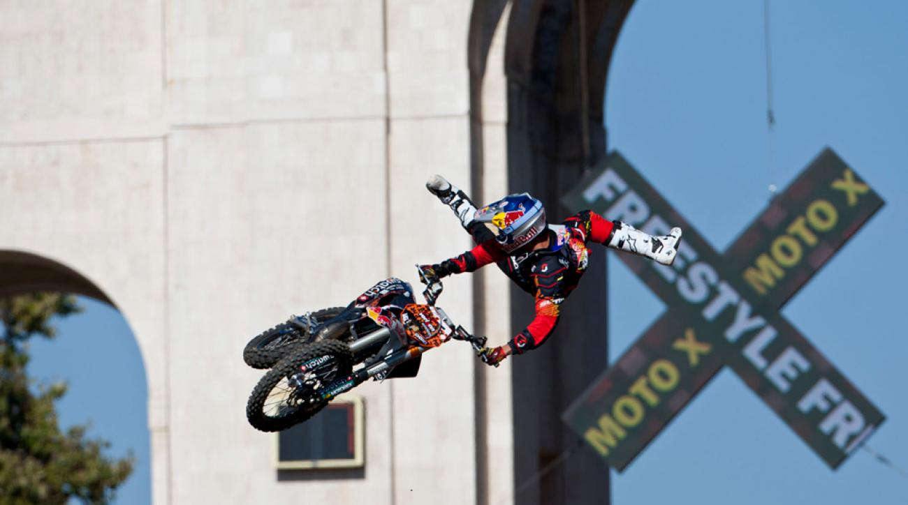 Mat Rebeaud competes in the FMX Freestyle finals during Summer X Games 16 on July 29, 2010 in Los Angeles, California.