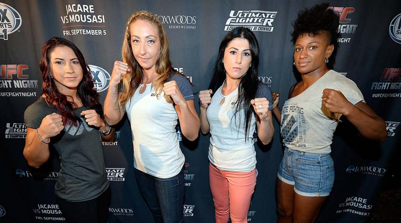The Ultimate Fighter season 20 cast members Tecia Torres, Heather Clark, Randa Markos and Felice Herrig at the UFC's The Ultimate Fighter 20 event.