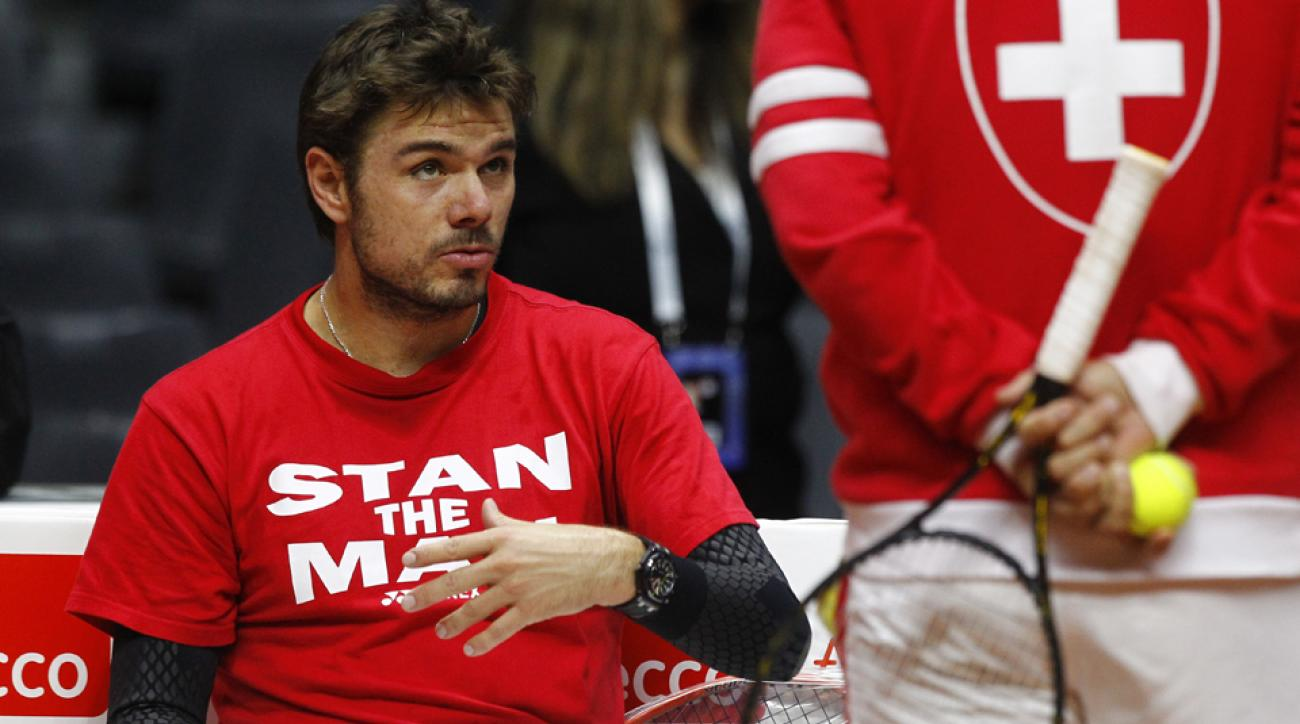 Wawrinka at a training session in Lille ahead of the Davis Cup final.
