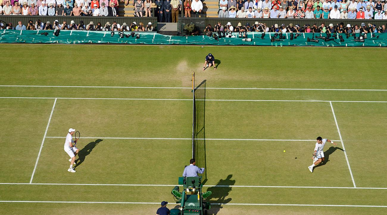 Wimbledon's grass courts wear down over the two weeks of play.