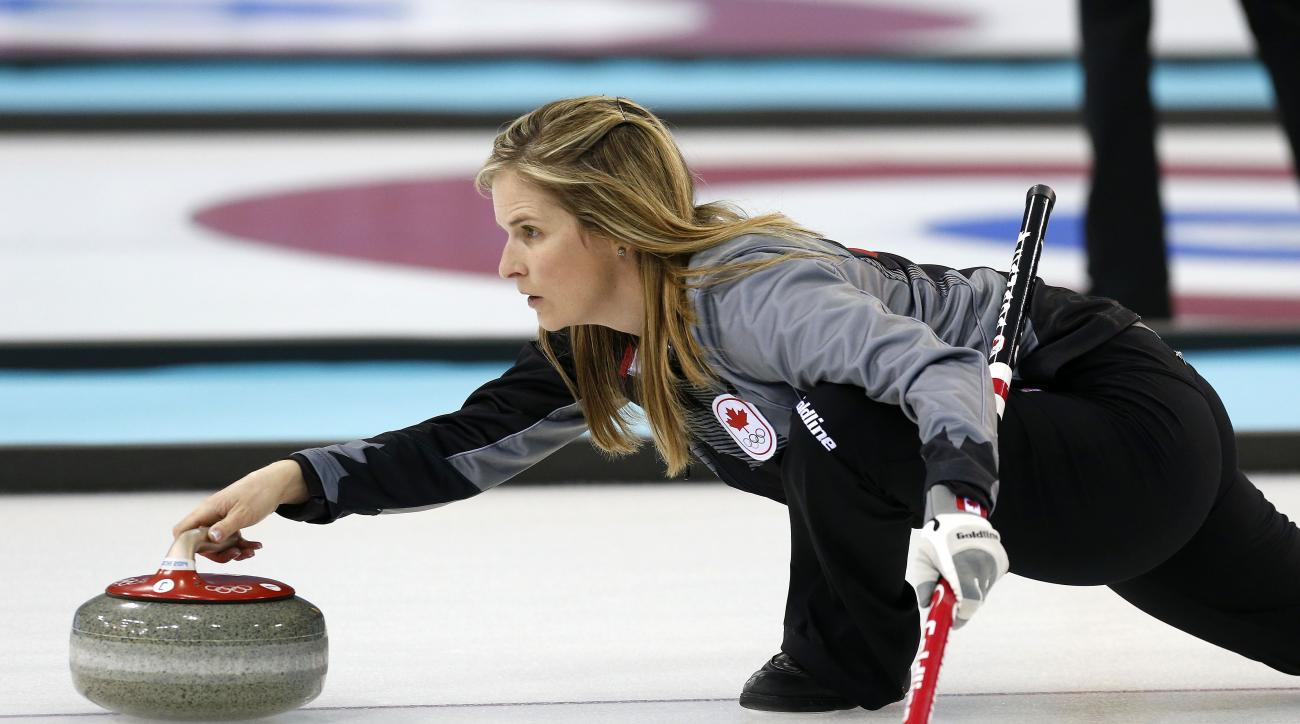 Team Canada skip Jennifer-Jones delivers the rock during the first day of curling training at the 2014 Winter Olympics, Saturday, Feb. 8, 2014, in Sochi, Russia. (AP Photo/Robert F. Bukaty)