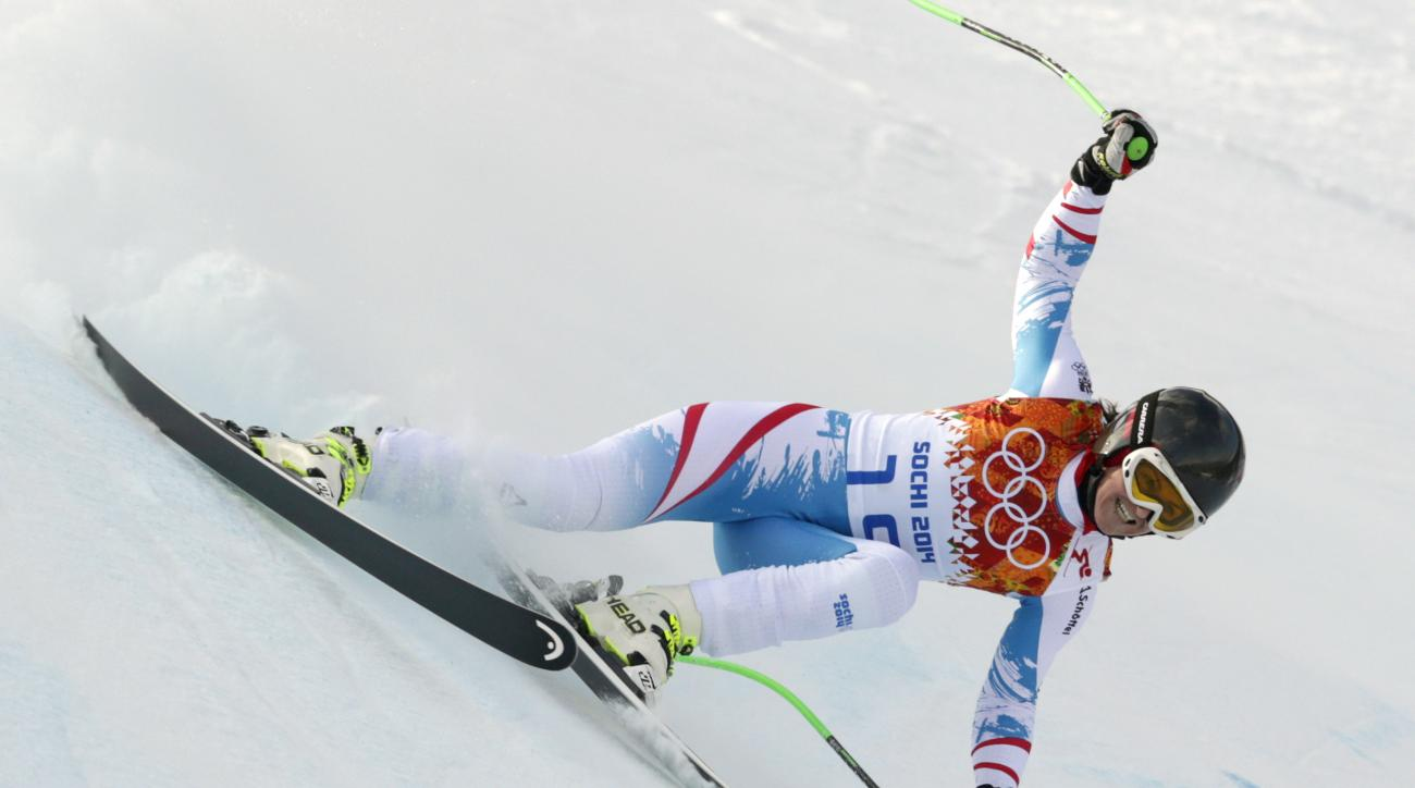 Austria's Elisabeth Goergl makes a turn during the downhill portion of the women's supercombined at the Sochi 2014 Winter Olympics, Monday, Feb. 10, 2014, in Krasnaya Polyana, Russia. (AP Photo/Charles Krupa)