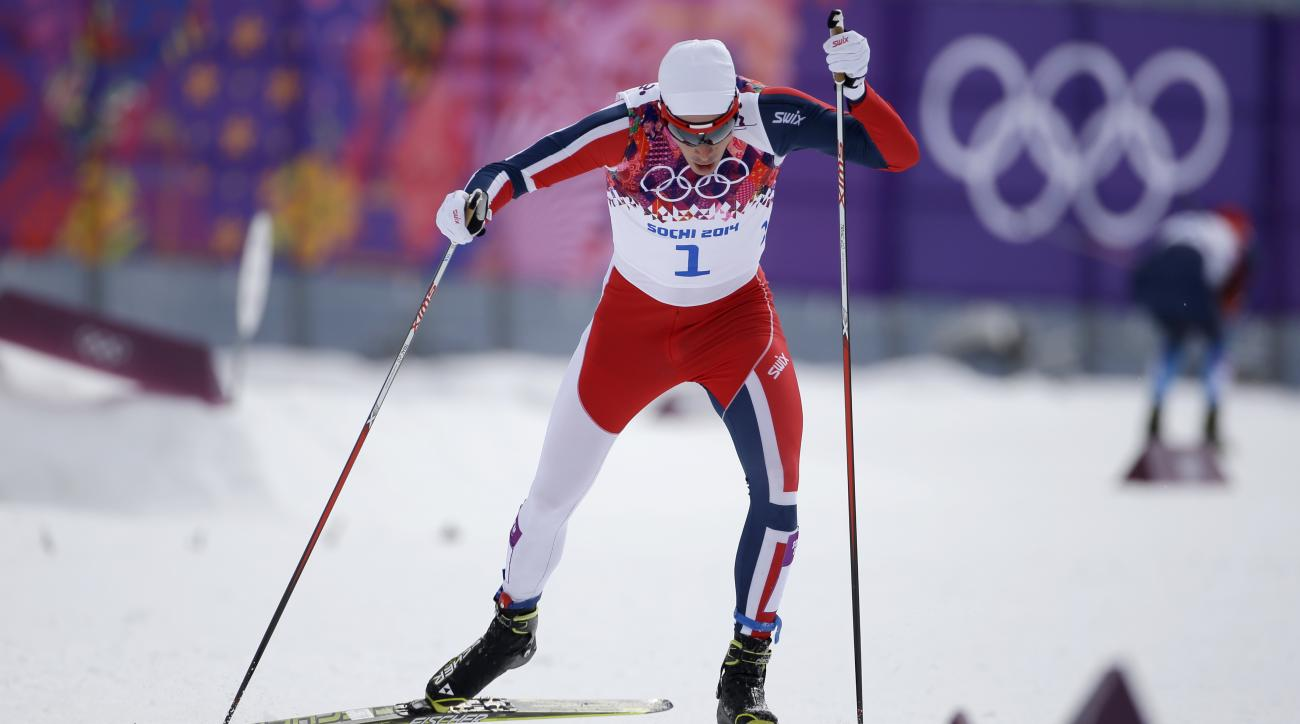 Norway's Ola Vigen Hattestad competes in the men's qualification of the cross-country sprint at the 2014 Winter Olympics, Tuesday, Feb. 11, 2014, in Krasnaya Polyana, Russia. (AP Photo/Gregorio Borgia)