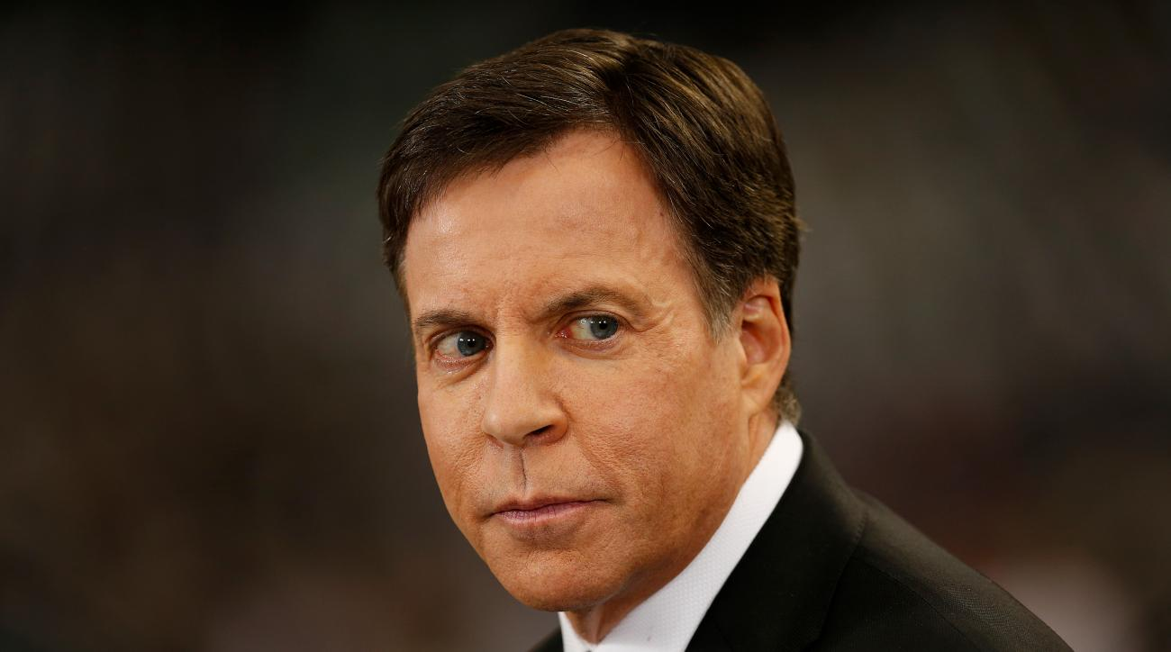NBA Sportscaster Bob Costas looks on prior to an NFL football game between the Dallas Cowboys against the New Orleans Saints at the Mercedes-Benz Superdome on Sunday November 10, 2013 in New Orleans, Louisiana. New Orleans won 49-17. (Aaron M. Sprecher/NFL)