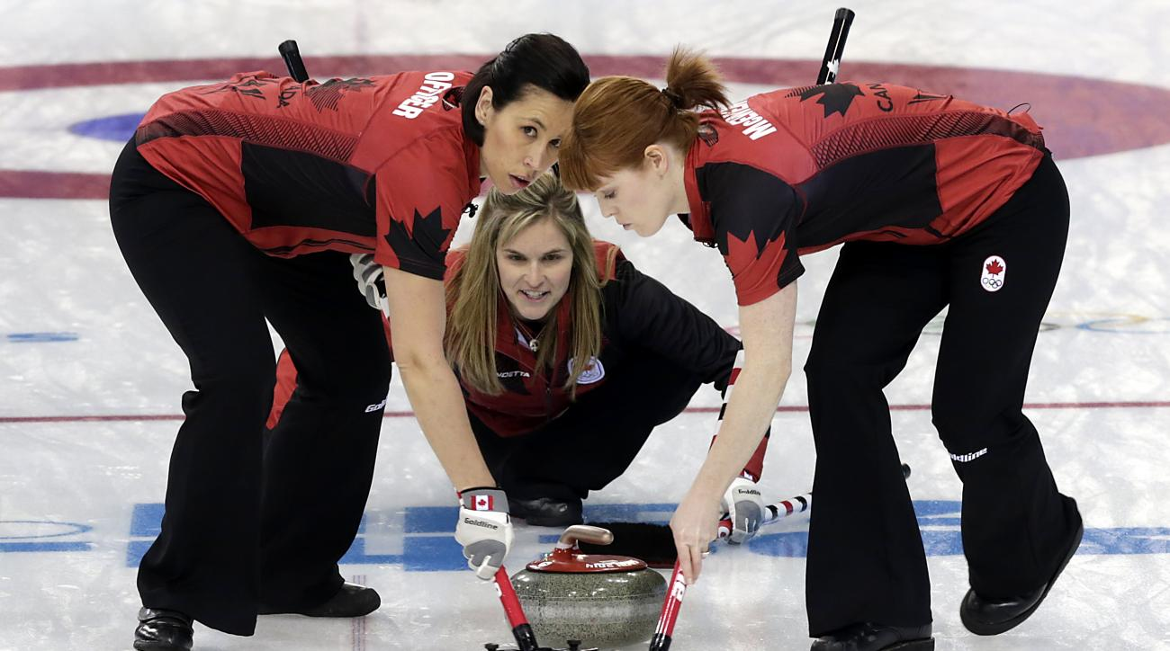 Canada's skip Jennifer Jones, center, delivers the rock for sweepers Jill Officer, left, and Dawn McEwen, right, during the women's curling competition against Britain at the 2014 Winter Olympics, Wednesday, Feb. 12, 2014, in Sochi, Russia. (AP Photo/Wong Maye-E)