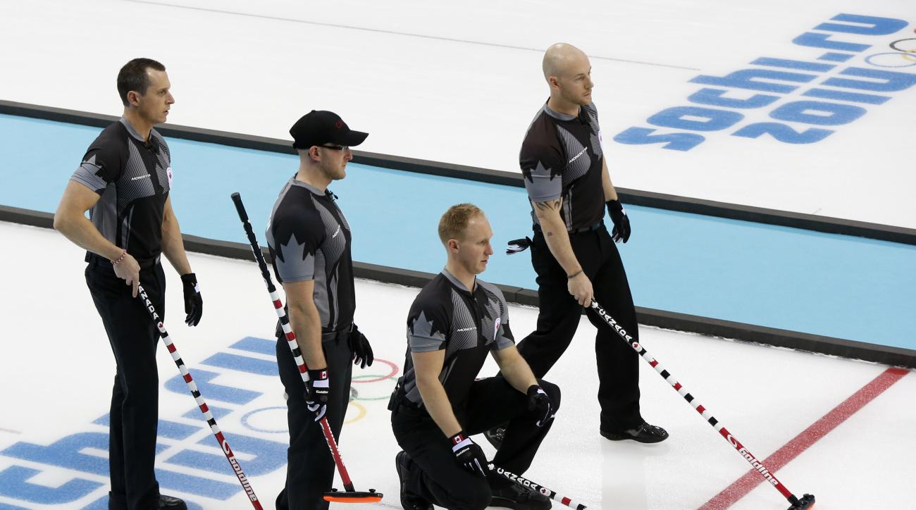 Canada's, from left, E.J. Harnden, Ryan Harnden, skip Brad Jacobs, and Ryan Fry,  look over they next shot during men's curling competition against Norway at the 2014 Winter Olympics, Friday, Feb. 14, 2014, in Sochi, Russia. (AP Photo/Robert F. Bukaty)